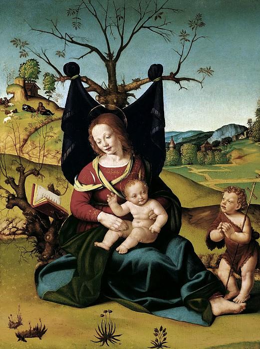 Пьеро ди Козимо - Мадонна с младенцем и Иоанном Крестителем. 1505-10. 72х54. М Лихтенштейн. Liechtenstein Museum (Vienna)