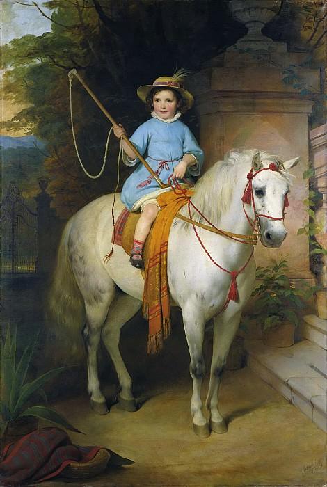 Фридрих фон Амерлинг - Портрет принца Иоганна II Лихтенштейн на белом коне. 1845. 234х157. М Лихтенштейн. Музей Лихтенштейн (Вена)