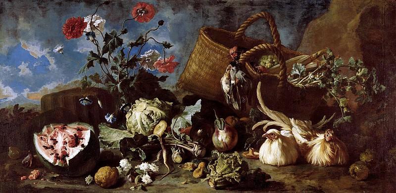Франц Вернер фон Тамм - Натюрморт с цветами, фруктами и двумя курицами. 1707. 104х211. М Лихтенштейн. Liechtenstein Museum (Vienna)