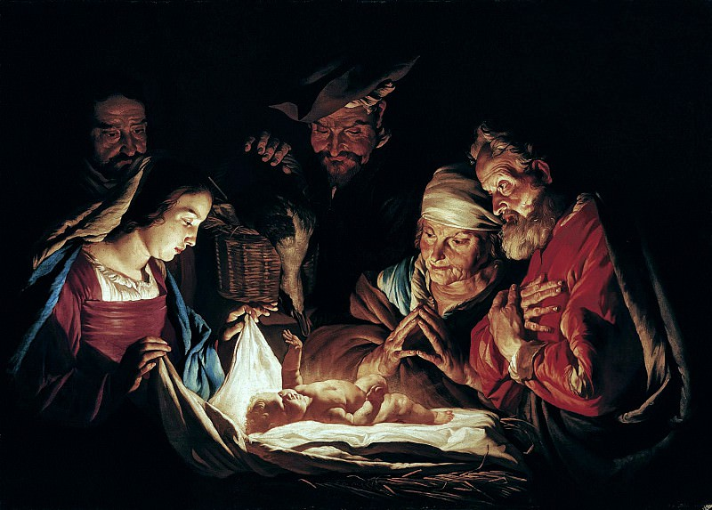 Маттиас Стомер - Поклонение пастухов. 1640-е. 117х166. М Лихтенштейн. Музей Лихтенштейн (Вена)