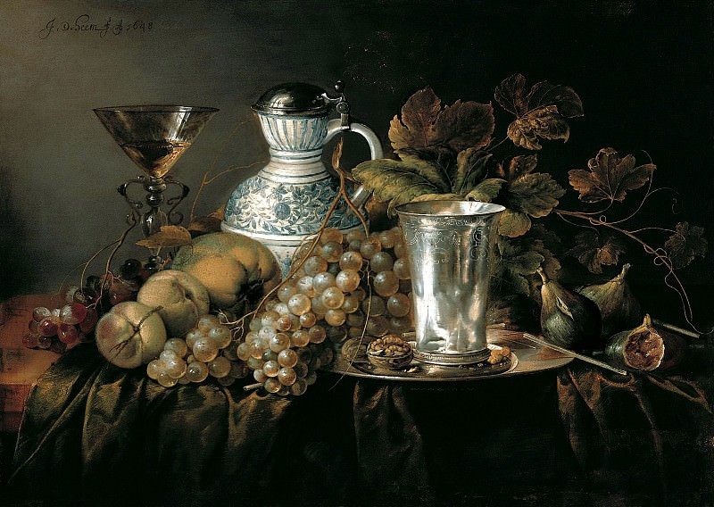 Ян Давидс де Хем - Натюрморт с серебренным бокалом. 1648. 46х65. М Лихтенштейн. Музей Лихтенштейн (Вена)