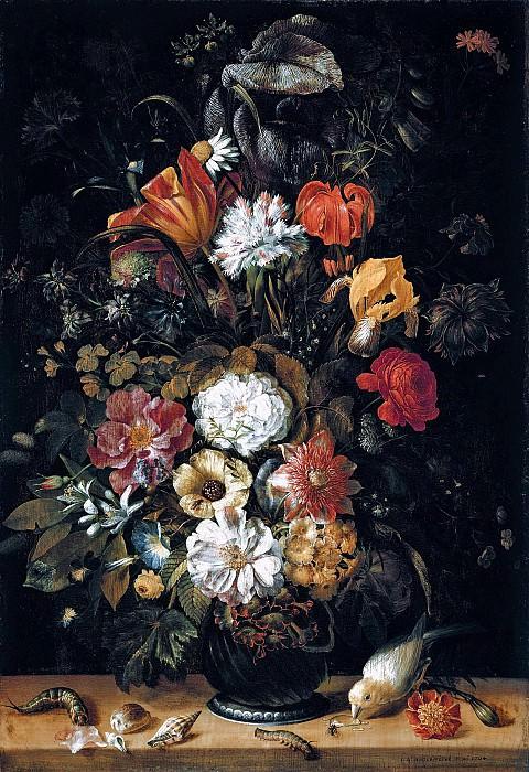 Иоган Ангермейер - Букет цветов и животные. 1704. 50х34. М Лихтенштейн. Liechtenstein Museum (Vienna)