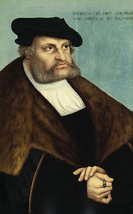 Лукас Кранах I - Портрет курфюрста Саксонии Фридриха III Мудрого. 1532. 80х49. Колл Букхейм. Музей Лихтенштейн (Вена)