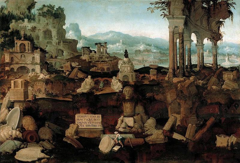 Херман Постумус - Фантастический пейзаж с руинами. 1536. 96х142. М Лихтенштейн. Музей Лихтенштейн (Вена)