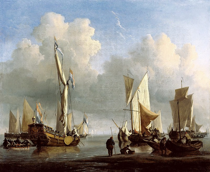 Виллем ван де Вельде II - Корабли у берега. 1672. 45х55. М Лихтенштейн. Liechtenstein Museum (Vienna)