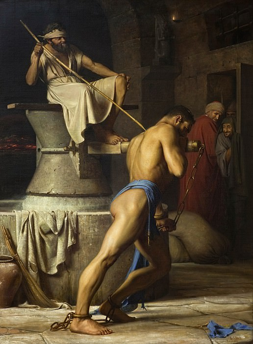 Carl Bloch (1834-90) - Samson and the Philistines. Kobenhavn (SMK) National Gallery of Denmark