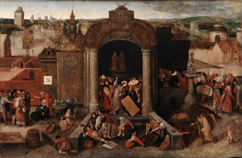 Hieronymus Bosch (folower) - Christ Driving the Traders from the Temple. Kobenhavn (SMK) National Gallery of Denmark