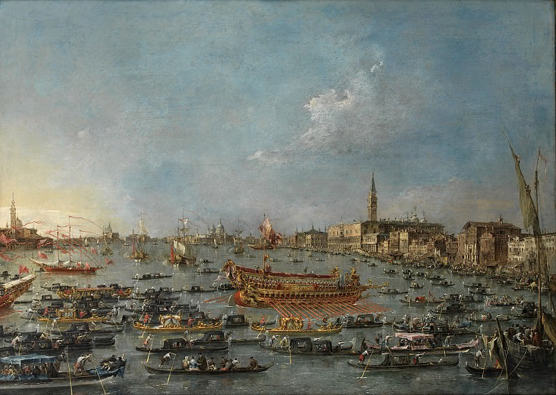 Francesco Guardi (1712-93) - The Bucintoro Festival of Venice. The Bacino di S. Marco with the Bucintoro, the Doge´s State Barge, on Ascension Day. Kobenhavn (SMK) National Gallery of Denmark