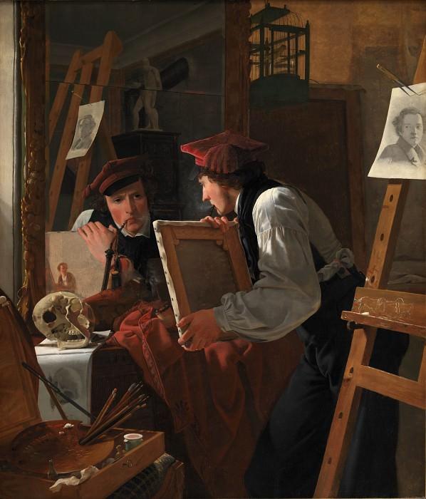 Wilhelm Bendz (1804-28) - A Young Artist (Ditlev Blunck) Examining a Sketch in a Mirror. Kobenhavn (SMK) National Gallery of Denmark