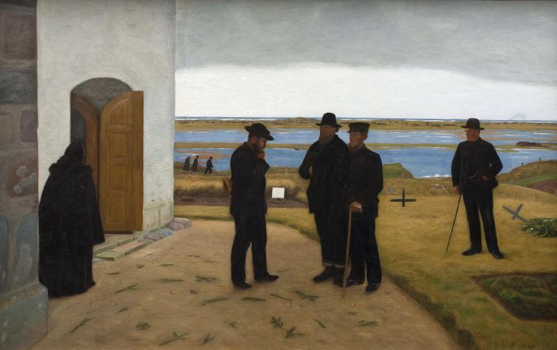Niels Jakob Jakobsen Bjerre (1864-1942) - People outside a Church. Kobenhavn (SMK) National Gallery of Denmark