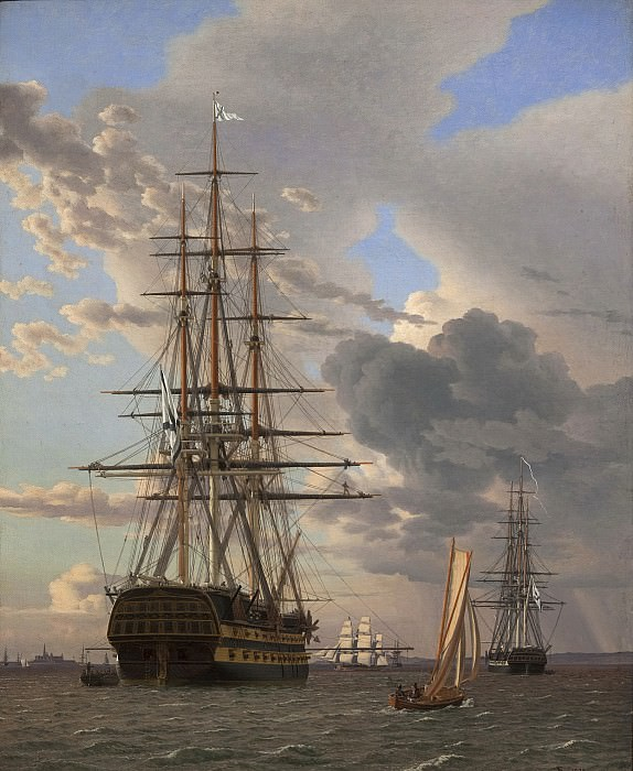 Christoffer Wilhelm Eckersberg (1783-1853) - The Russian Ship of the Line Assow and a Frigate at Anchor in the Roads of Elsinore. Kobenhavn (SMK) National Gallery of Denmark