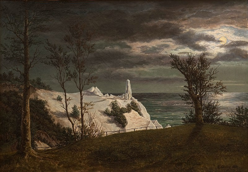 "Frederik Sødring (1809-62) - The ""Summer Spire"" on the Chalk Cliffs of the Island Møn. Moonlight. Kobenhavn (SMK) National Gallery of Denmark"