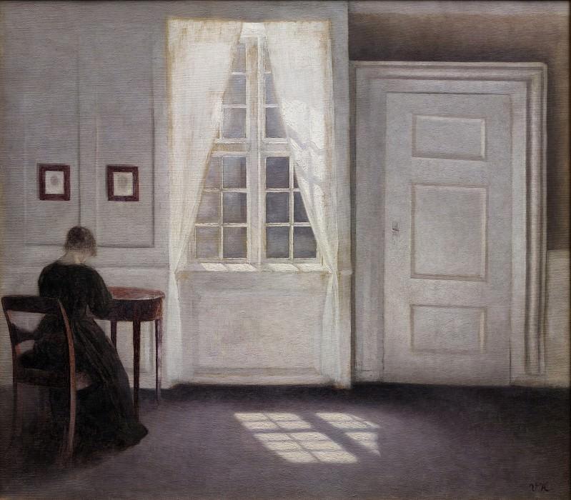 Vilhelm Hammershøi (1864-1916) - Interior in Strandgade, Sunlight on the Floor. Kobenhavn (SMK) National Gallery of Denmark