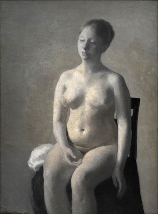 Vilhelm Hammershøi (1864-1916) - Seated Female Nude. Kobenhavn (SMK) National Gallery of Denmark