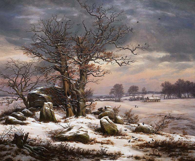 Johan Christian Dahl (1788-1857) - Winter Landscape. Near Vordingborg. Kobenhavn (SMK) National Gallery of Denmark