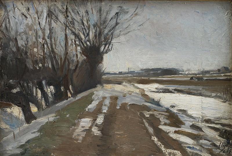 Albert Gottschalk (1866-1906), Winter Landscape. Utterslev near Copenhagen. Kobenhavn (SMK) National Gallery of Denmark