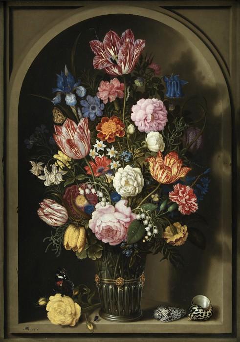 Ambrosius Bosschaerts I (1573-1621) - Bouquet of Flowers in a Stone Niche. Kobenhavn (SMK) National Gallery of Denmark