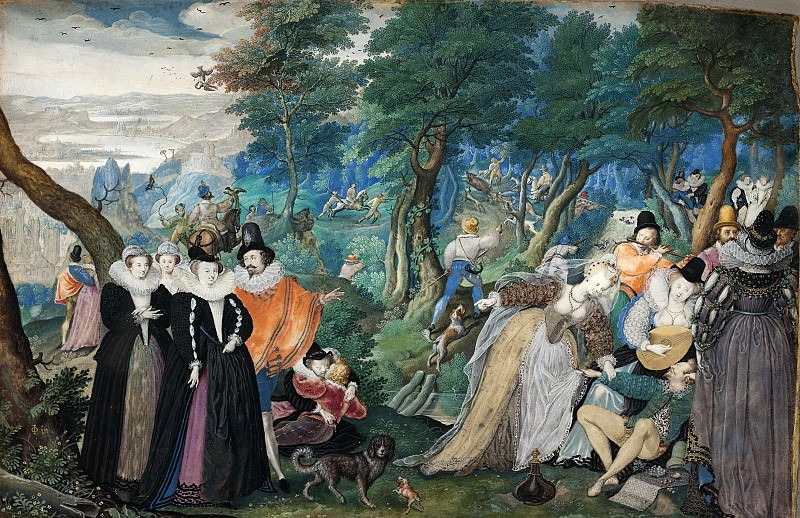 Isaac Oliver I (1566-1617) - A Party in open Air. Kobenhavn (SMK) National Gallery of Denmark