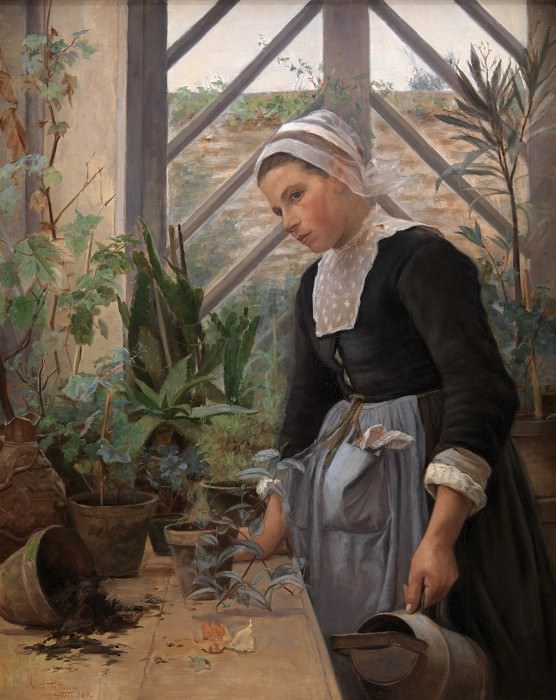 Anna Petersen (1845-1910) - Breton Girl looking after Plants in Hothouse. Kobenhavn (SMK) National Gallery of Denmark