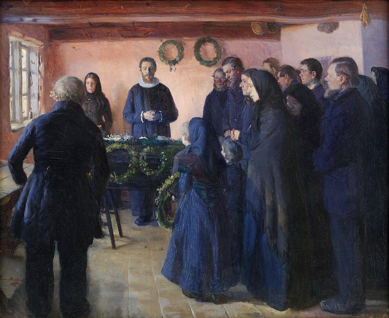 Anna Ancher (1859-1935) - A Funeral. Kobenhavn (SMK) National Gallery of Denmark