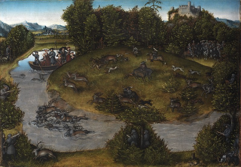 Lucas Cranach den Ældre (c. 1472-1553) - The Stag Hunt of the Elector Frederic the Wise (1463-1525) of Saxony. Kobenhavn (SMK) National Gallery of Denmark