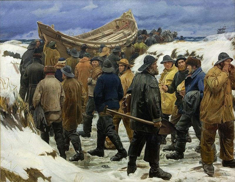 Michael Ancher (1849-1927) - The Lifeboat is Taken through the Dunes. Kobenhavn (SMK) National Gallery of Denmark