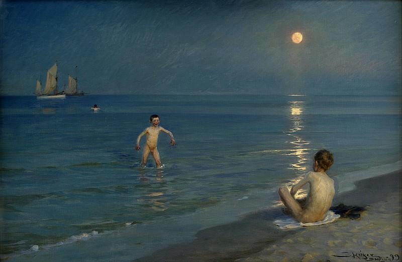 Крёйер, Педер Северин (1851-1909) - Купающиеся мальчики в Скагене. Летний вечер. Копенгаген (SMK) Датская национальная галерея