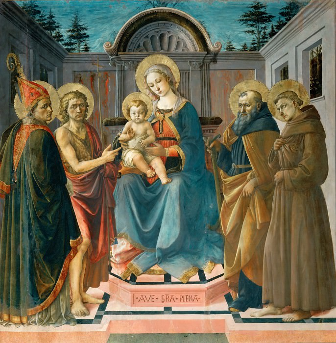Francesco Pesellino (c. 1422-1457) -- Madonna and Child with Saints Zenobius, John the Baptist, Anthony Abbott, and Francis of Assisi. Part 1 Louvre