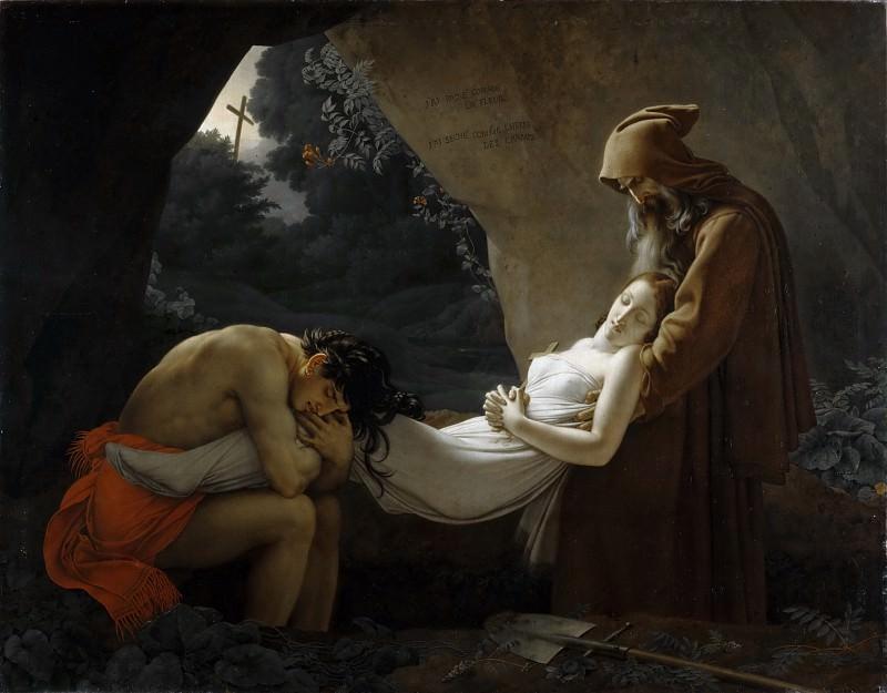 Anne-Louis Girodet de Roucy-Trioson -- Entombment of Atala (Funérailles d'Atala). Part 1 Louvre