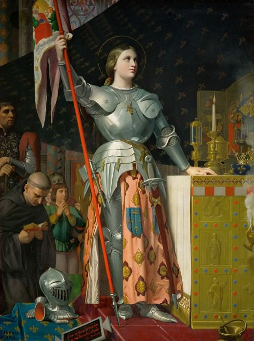Joan of Arc at the coronation of King Charles VII in the cathedral at Reims, July 1429. Jean Auguste Dominique Ingres