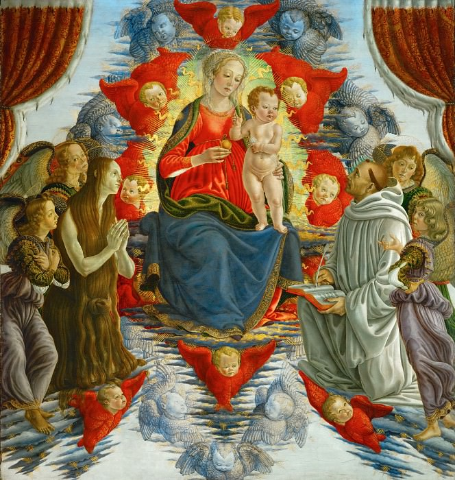 Sandro Botticelli (1444 or 1445-1510) -- Madonna and Child among Angels, with Saints Mary Magdalen and Bernard. Part 1 Louvre