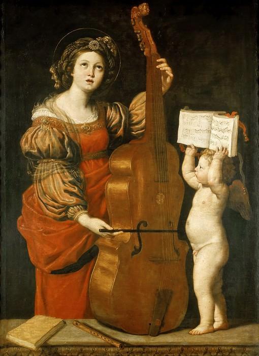 Доменикино (Доменико Дзампьери) (1581 Болонья - 1641 Неаполь) -- Музыцирующая святая Цецилия с ангелом, держащим нотную тетрадь. часть 1 Лувр