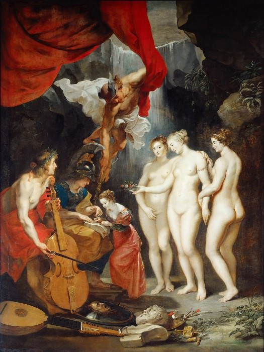 Peter Paul Rubens -- Education of Marie de' Medici (Apollo and Mercury lead her in music and eloquence while Minerva teachers her to read and the Three Graces offer beauty). Part 1 Louvre