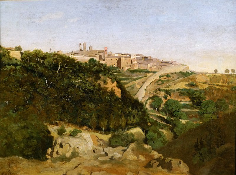 Corot, Jean-Baptiste Camille -- Volterra, le municipe-Volterra, Italy, 1834. See also 40-11-10/68 Canvas, 70, 5 x 94 cm R.F.1618. Part 1 Louvre