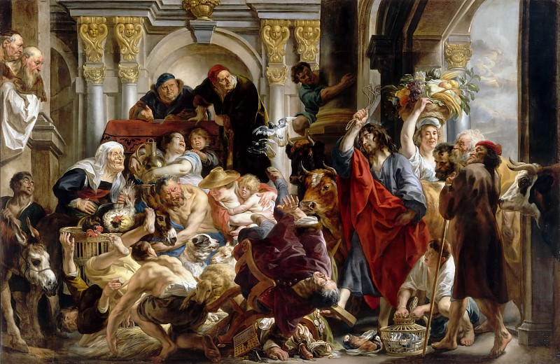 Jacob Jordaens the Elder -- Christ Expelling the Money-Changers from the Temple (Jesus Driving the Merchants from the Temple). Part 1 Louvre