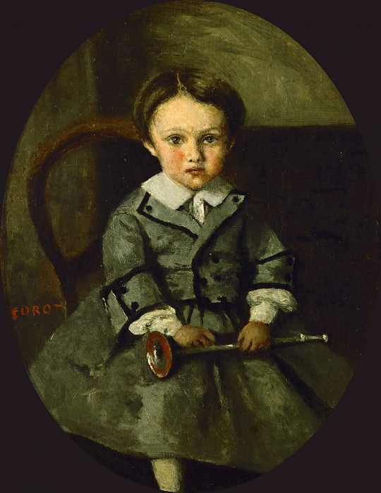 Corot, Jean-Baptiste Camille -- Maurice Robert as a child. Oil on canvas (1857) 29 x 23 cm RF 2600. Part 1 Louvre