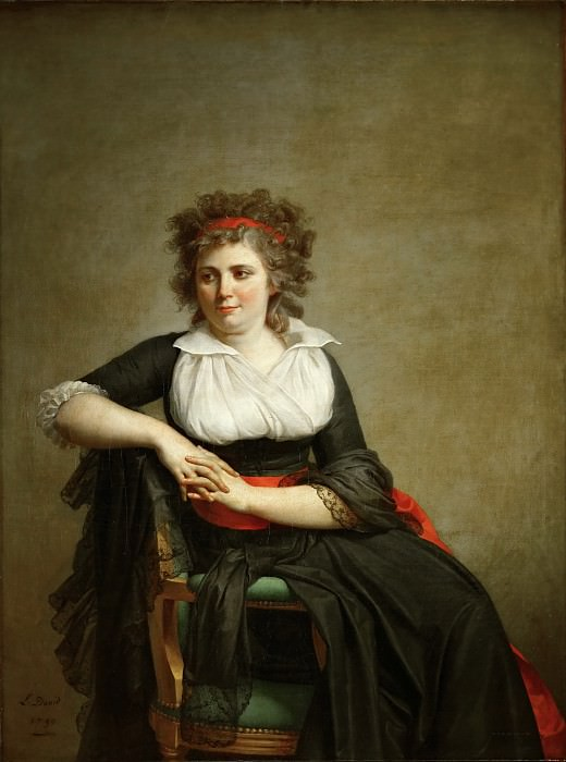 David, Jacques Louis -- Robertine Tourteau, Marquise d'Orvilliers. Oil on canvas (1790) 131 x 98 cm RF 2418. Part 1 Louvre