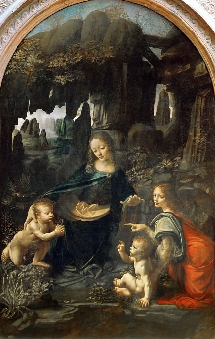 Leonardo da Vinci -- Madonna of the Rocks (Virgin of the Rocks). Part 1 Louvre