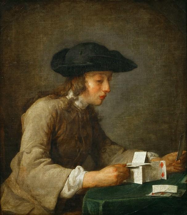 Chardin, Jean-Baptiste Simeon -- Le chateau de cartes-a house of cards. Oil on canvas (1779) 77 x 68 cm Mi 1032. Part 1 Louvre