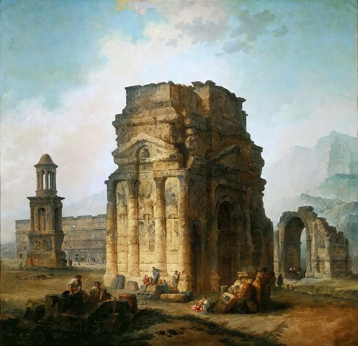 Robert, Hubert -- L'Arc de Triomphe et le theatre d'Orange. The ruins of the Roman triumphal arch and the theatre at Orange, France. 1787 Canvas, 242 x 242 cm Inv.7647. Part 1 Louvre