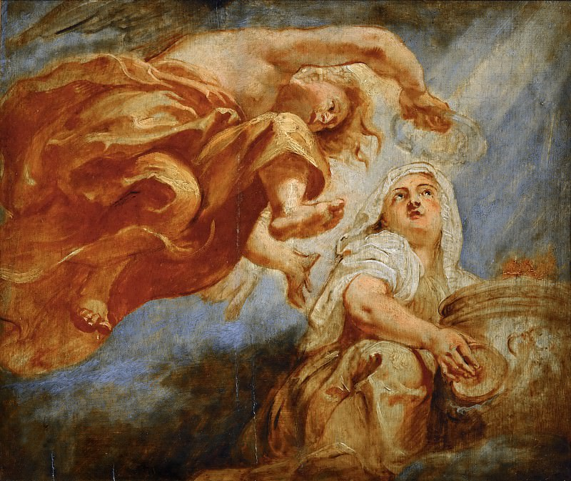 Genius crowning Religion, sketch for the center of the apotheosis of King James I, fresco on the ceiling of Whitehall, London. Peter Paul Rubens