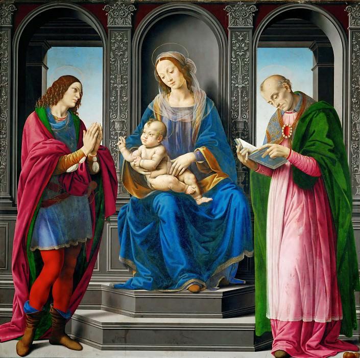 Lorenzo di Credi -- Madonna and Child with Saints Julian and Nicholas of Myre. Part 1 Louvre