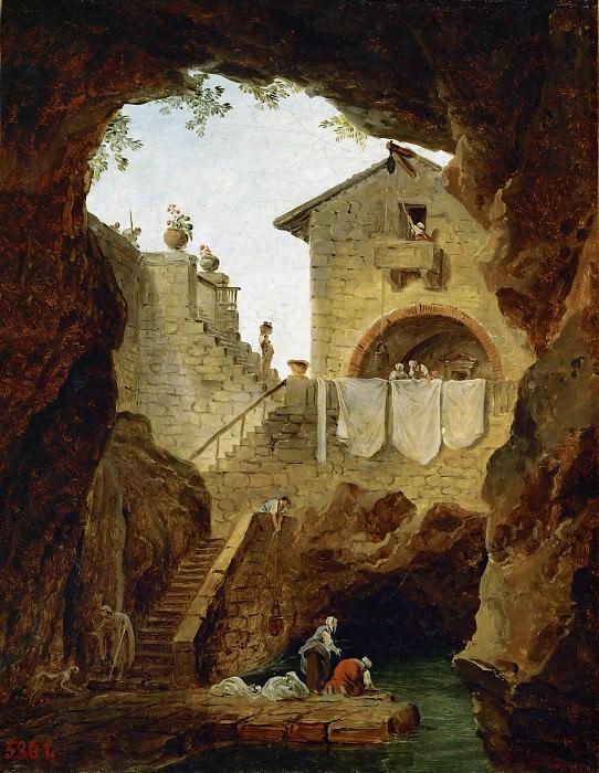 Robert, Hubert -- Lavandieres. La fontaine sous la grotte. Washerwomen. The fountain in the grotto. Canvas, 32 x 26 cm M.N.R. 680. Part 1 Louvre