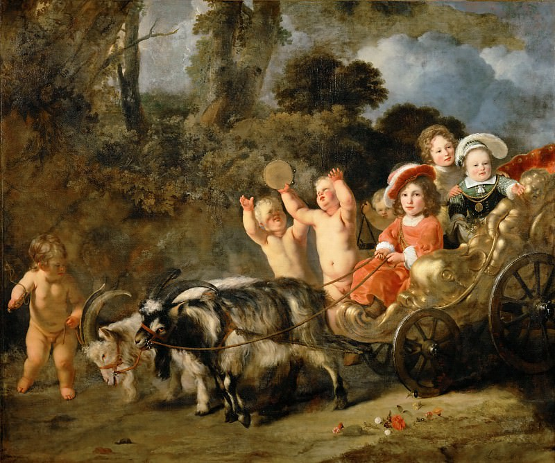 Ferdinand Bol (1616-1680) -- Aristocratic Children in a Carriage Drawn by Goats, formerly known as Portrait of William-Henry of Nassau, the Future William II, King of the Netherlands. Part 1 Louvre