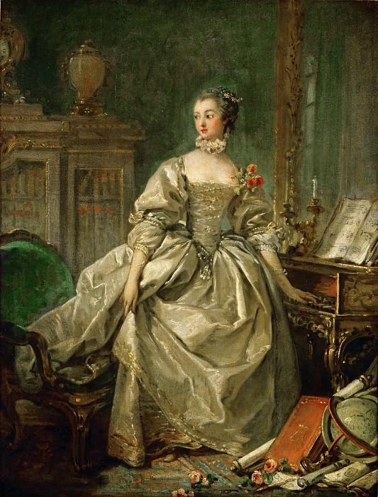Boucher, Francois -- Mme. Pompadour (Jeanne Antoinette Poisson, Marquise de Pompadour) 1721-1764, influential mistress of Louis XV of France. Paper on canvas, 60 x 45, 5 cm R.F. 2142. Part 1 Louvre
