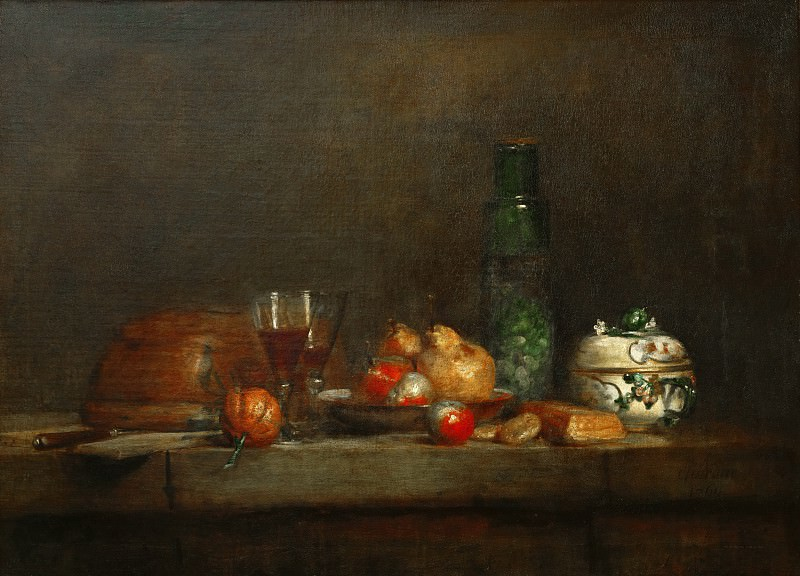 Chardin, Jean-Baptiste Simeon -- Le bocal d'olives-a bowl of olives. Oil on canvas, 71 x 98 cm MI 1036. Part 1 Louvre