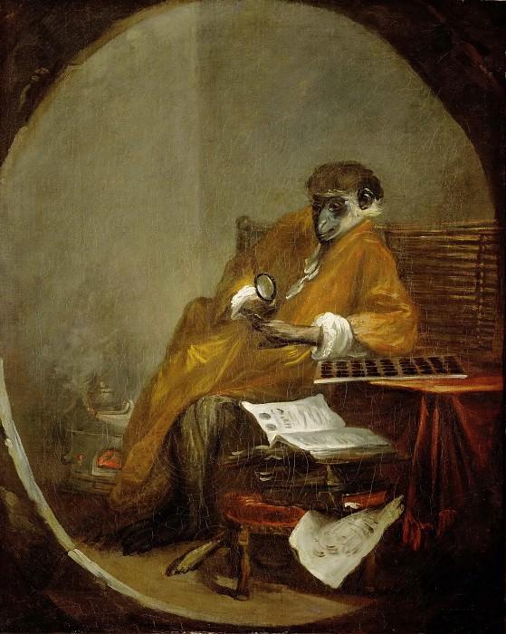 Chardin, Jean-Baptiste Simeon -- Le singe antiquaire-the monkey as collector of antiques. 1740 Canvas, 81 x 64, 5 cm Inv. 3206. Part 1 Louvre