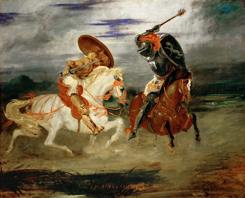 Delacroix, Eugene -- Combat de chevaliers dans la campagne-A fight between knights. Canvas, 81 x 100 cm R.F. 1655. Part 1 Louvre