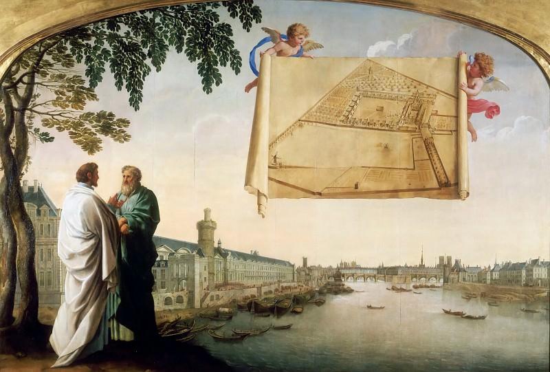 Eustache Le Sueur -- Plan of the Chartreuse de Paris carried by two angels. Part 1 Louvre