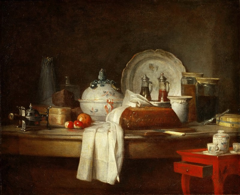 Jean-Siméon Chardin -- The Sideboard (Remains of a Lunch). Part 1 Louvre